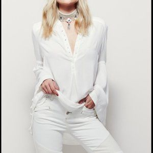 FREE PEOPLE white bell sleeve Swing tunic top